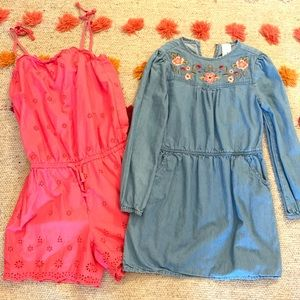 Pink Romper & embroidered denim dress